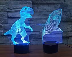 Dinosaur & Shark 3D Night Light 7 Colors Changing Optical I