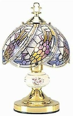 """14""""H Tiffany Glass Floral Theme with Gold Finish Base Desk T"""