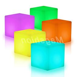 "Magshion*16"" Cube LED Color Light Stool Outdoor Indoor Home"