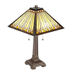 CO-Z 2-Light Tiffany Mission Style Table Lamp, Geometry Shap