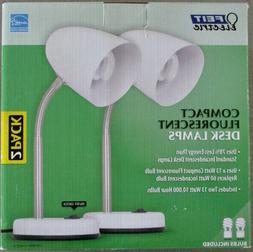 2 New FEIT Electric Compact Fluorescent Desk Lamps