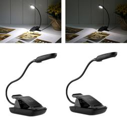2 Pack LED Clip On Lamp Gooseneck Reading Light Desk Lamps f