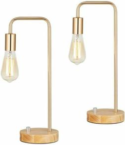 2 Sets Stylish Wooden Table Lamp with Gold Frame Simple Nigh