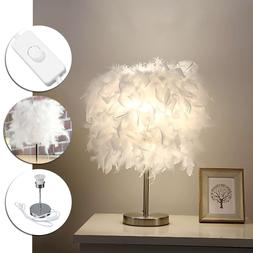 220V Feather Shade Metal Table <font><b>Lamp</b></font> Beds