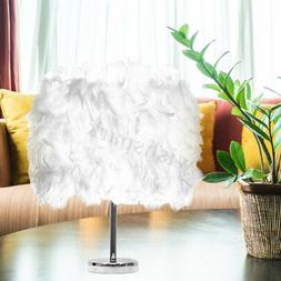 220V Feather Shade Table Lamp Bedside Desk Night Light Bedro