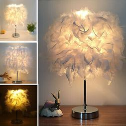 220V Feather Table Lamp Shade Bedside Desk Romantic Bedroom