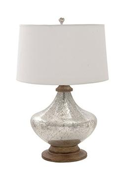 """Deco 79 23578 Glass Wood Table Lamp, 28"""""""