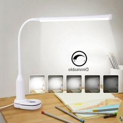 24 LED Dimmable Flexible Study Clamp Desk Lamp Eye-Care Touc