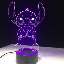3D Cartoon Stitch Night Light 7 Color Change LED Desk Lamp T