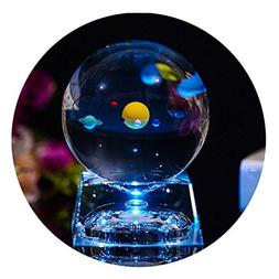 3D Crystal Ball with Solar System model and LED lamp Base, C