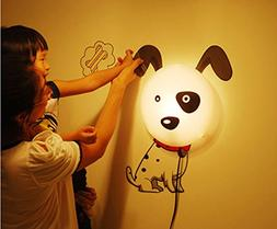 3D Cute Dog LED Wall Lamp Light DIY Wall Stickers Wallpaper