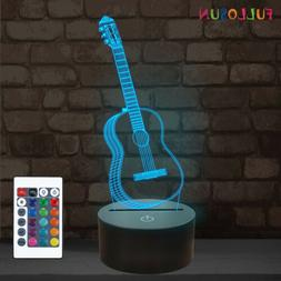 3D Guitar Illusion Lamp for Kids Gifts,16 Colors Bedroom Des