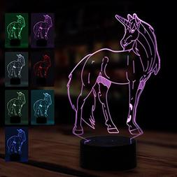 3D Lamp Unicorn Night Light Touch Table Desk Lamp 7 Color Ch