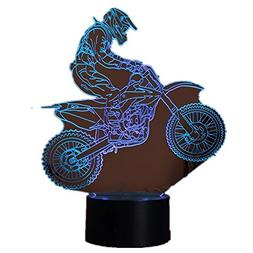 3D Motocross Bike Night Lights Novelty 3D Table Lamp USB 7 C