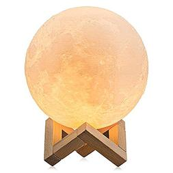 2-Colors 3D Printed Moon Lamp Night Light USB Charging Woode