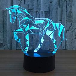 3D Puzzle Horse Illusion Lamps 7 Colour Touch Switch LED Nig