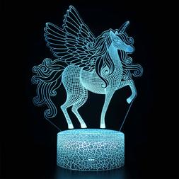3D Unicorn Lamp Remote Touch Control LED Night Light Table D