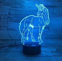 3D Unicorn Night Light LED Touch Decorative Night Lights 7 C