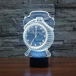 3D Visual Alarm Clock Night Light Lamp, 7 Colors Changing To