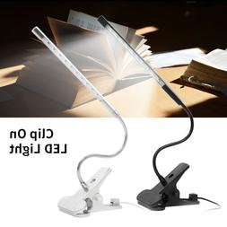 5W USB Clip-On Desk Lamp 10 LEDS Flexible Reading light Dimm