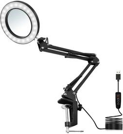 5X Magnification LED Magnifying Lamp Desk Lamp with Clamp Di