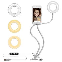 MeeQee Cell Phone Holder with Selfie Ring Light for Live Str