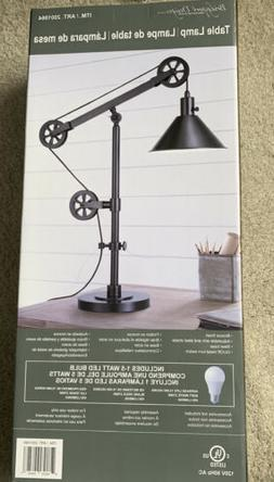 Adjustable Arm and Steel Shade, Bronze Finish Pulley Table L