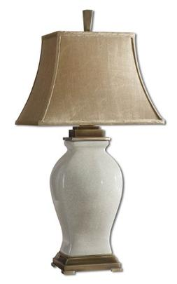 Aged Ivory Glaze / Coffee Bronze Porcelain Table Lamp From T