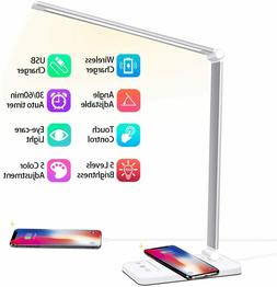 Aluminum Led Desk Lamp w/ USB Port, Wireless Charger, 5 Colo