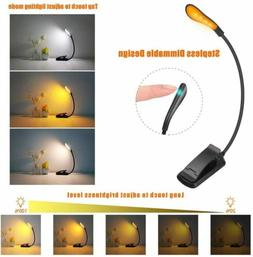 Amber LED USB Rechargeable Book Light for Reading in Bed Cli