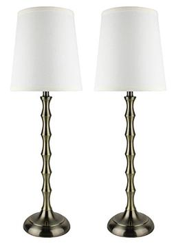 Urbanest Set of 2 Antique Brass Bahama Bamboo Buffet Lamps w