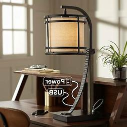 Gentry Bronze Desk Lamp with Power Outlet and USB Port