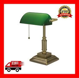 Banker's Desk Traditional Lamp With Green Glass Shade And CF