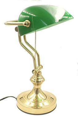"""RUDY Bankers Desk Lamp 15""""H, Green Glass Shade with Polished"""