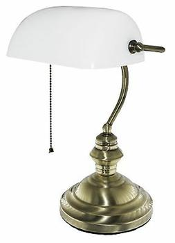 "Bankers Desk Lamp 15""H, White Glass Shade with Brushed Gold"