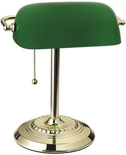 BANKERS LAMP BRASS/GRN by LIVING ACCENTS MfrPartNo 17466-012