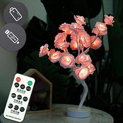 Bedroom Pink Rose Flower Table Lamp Night Light with Remote,