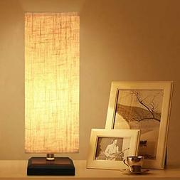 Bedside Desk Table Lamp Square Fabric Shade Nightstand, Mini
