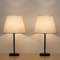 Bedside Table Lamps Set of 2 - HAITRAL Small Nightstand Lamp