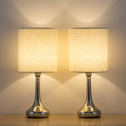 HAITRAL Bedside Table Lamps Set of 2 - Unique Modern Nightst