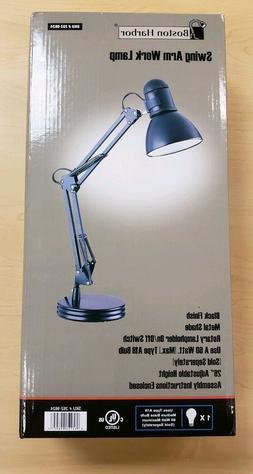 Boston Harbor Black Adjustable Swing-Arm Desk Lamp 045734998
