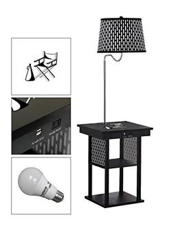 The Furniture Cove Black Side End Table USB Ports Electric O
