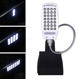 HDE Bright 28 LED 3 Mode Clip On Lamp Flexible Neck Clamp De