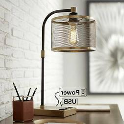 Industrial Desk Lamp with USB Outlet Antique Brass and Bronz