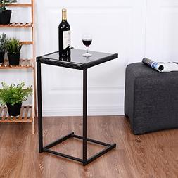 Tangkula Sofa Side Table, C-Shape Snack Table, Coffee Desk S