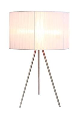 Simple Designs Brushed Nickel Tripod Table Lamp with Pleated