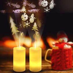 Tpingfe LED Candle Light Flameless Projection Flickering Rem