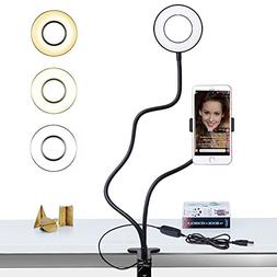 Selfie Ring Light with Cell Phone Holder Stand for Live Stre