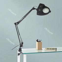 Clamp on Swing Arm Lighted Magnifying Lamp Hobby Desk Table