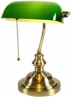 Classic Banker Table Desk Lamp Pull Switch Green Glass Lamps